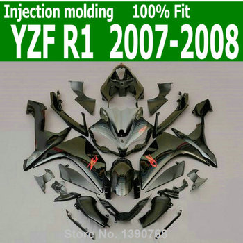 ABS hulls kit For YAMAHA YZF R1 07  08 ( Black ) high quality Injection fairing kit TL46