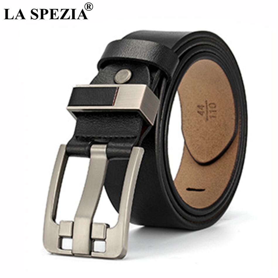 LA SPEZIA Black Pin Belt Buckle Men Genuine Leather Square Male Vintage Designer Real Cowhide Jeans Belts