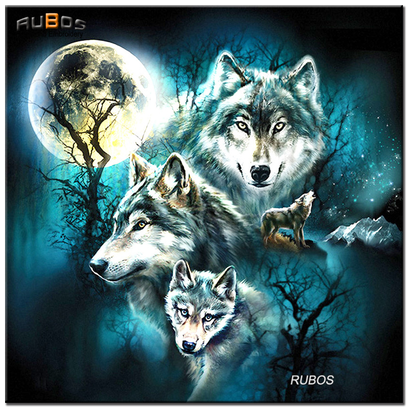 RUBOS Four wolves moon DIY 5D pattern rhinestone diamond embroidery diamond painting mosaic home decor series on wall paper sale