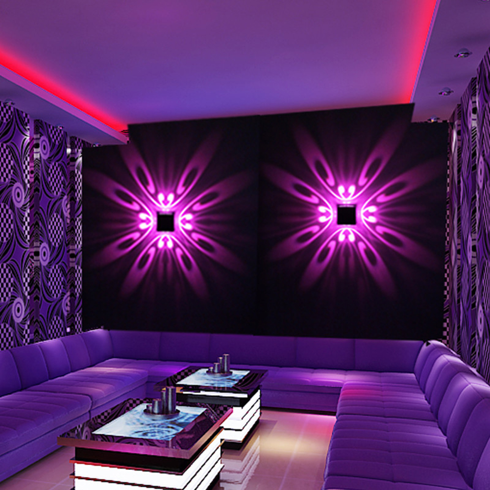 LED โคมไฟติดผนังในร่ม LED ฉายแสงสีสันภาพจิตรกรรมฝาผนังโคมไฟพื้นหลังสำหรับ Home KTV Bar