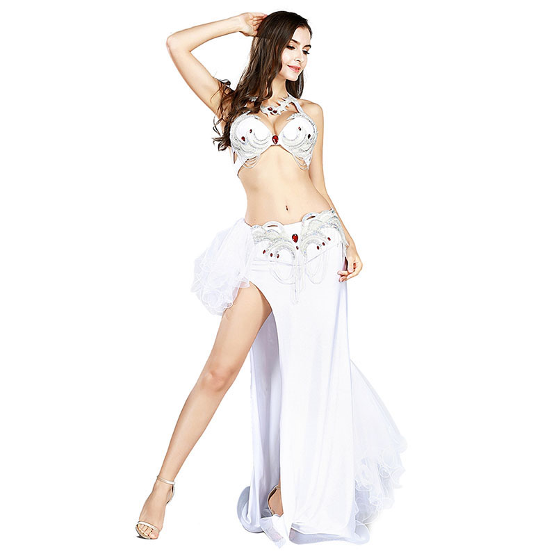 Handmade Egyptian Belly Dance Saidi Costume Set 2 Pics Bra + Skirt Carnival  Performance Show Costume Oriental Dance Outfits
