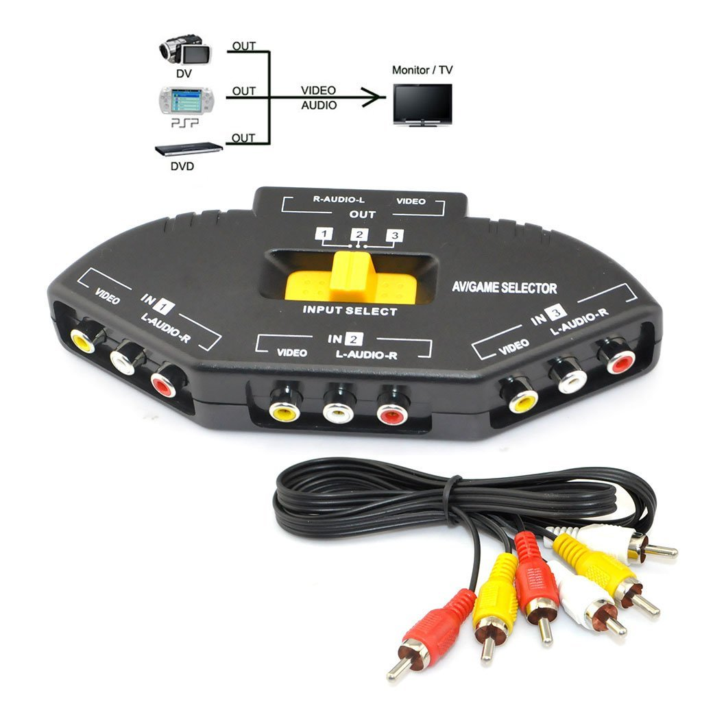 New 3 Port Input Channels RCA Adapter Switch AV DVD Audio Video Selector Cable
