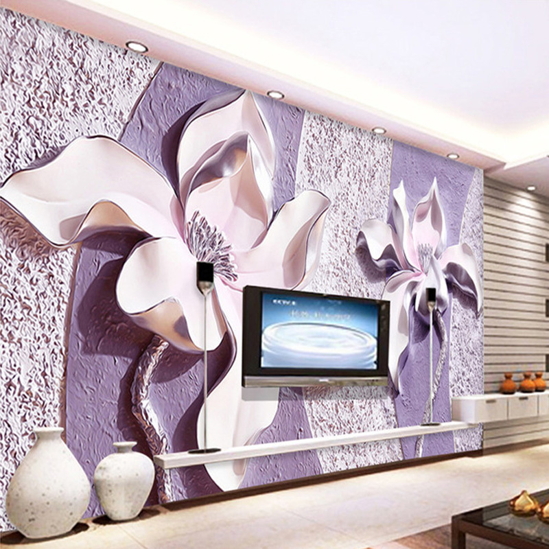 Custom Photo Wallpaper 3D Relief Purple Magnolia Bedroom Living Room Sofa TV Background Non-woven Wall Mural Wallpaper De Parede custom photo mural modern minimalist 3d white rose non woven wallpaper for living room sofa background 3d wall murals wallpaper