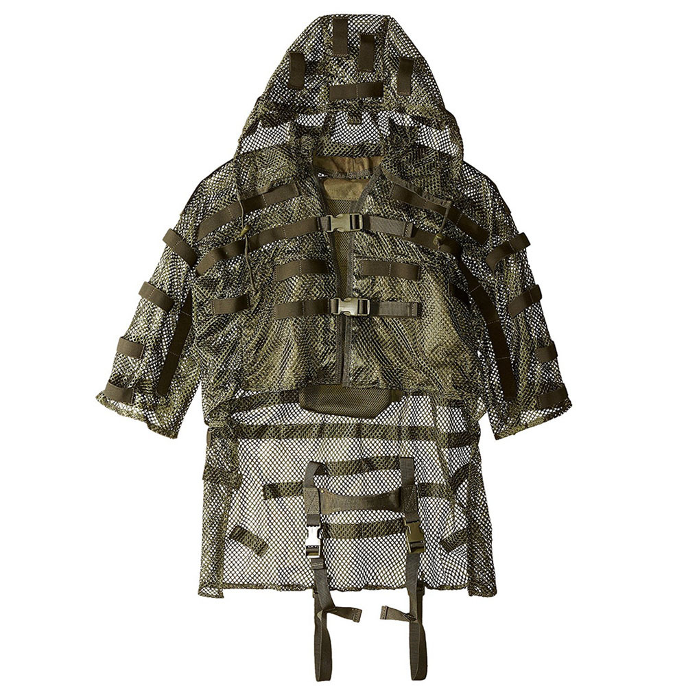 Tactics CS Camouflage Mesh Breathable Cloak Ghillie Clothes Combat Military Jacket Outdoor Hunting Detachable Hooded Sniper Coat