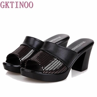 2018 new women sandals women slippers genuine leather thick high heeled color block decoration open toe women sandals T012