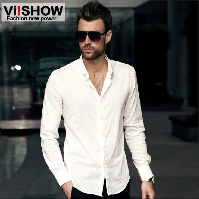 Viishow Camisa Ocasional de Los Hombres Slim Fit Camisa Blanca de Manga Larga de Negocios Camisa Masculina Social Básico de La Camisa de Los Hombres de Gran Tamaño M-4XL