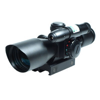 2 5 10x40 Tactical Rifle Scope Green Laser Dual Illuminated Mil Dot Rail Mount Airsoft Hunting