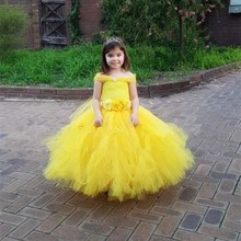 Cosplay Dress Belle Princess Ball-Gown Halloween-Costumes Flowers Christmas Girls Baby