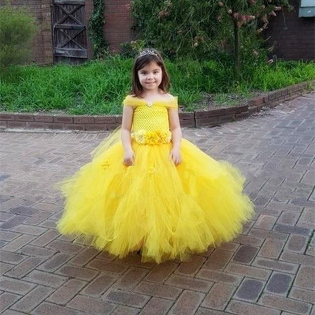 7489863e5192 Belle Princess Baby Girls Dress Yellow Kids Baby Christmas Halloween  Costumes Beauty Beast Cosplay Dress Flowers Girls Ball Gown