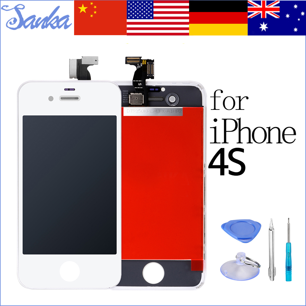 SANKA AAA Replacement LCD For iPhone 4S Screen Display Digitizer Touch Screen Assembly & Free Tools White Mobile Phone Parts