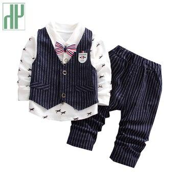 3f3dfc7faa3e2 Çocuk giyim Seti Bahar Sonbahar Bebek Erkek kıyafetler 3 Adet Ceket +  t-shirt + pantolon seti çocuklar Moda yürümeye başlayan beyefendi Elbise  Takım Elbise