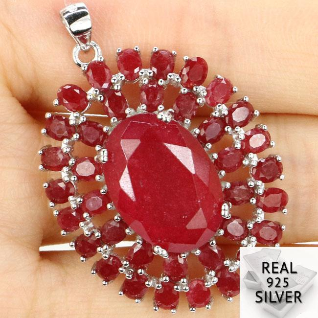 Guaranteed Real 925 Solid Sterling Silver 6.7g Big Size Real Red Ruby SheType Gift For Ladies Pendant 39x28mmGuaranteed Real 925 Solid Sterling Silver 6.7g Big Size Real Red Ruby SheType Gift For Ladies Pendant 39x28mm
