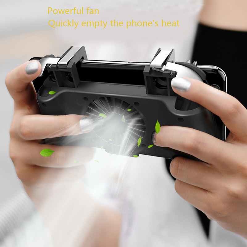4000/2000mAh for Pubg Game Controller Handle Built-in Cooling Fan L1r1 Shooter Trigger Fire Button with Radiator for Smartphone
