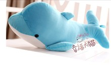 cute lovely dolphin plush toy stuffed dolphin pillow birthday gift toy about 60cm blue