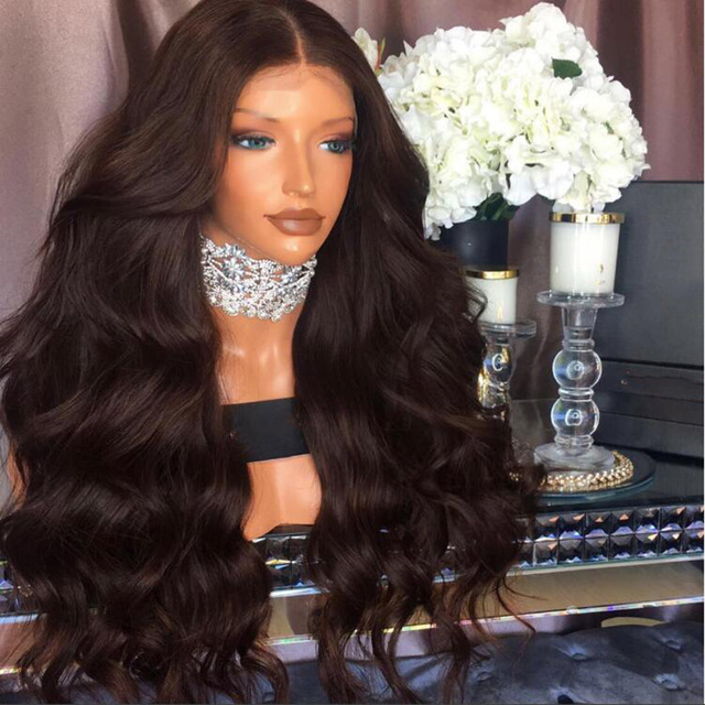 8bd3a93f5 8A Grade Thick Body Wave Human Hair Full Lace Wigs Peruvian Virgin Hair  Glueless Lace Front