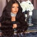 8A Grado Gruesa Onda Del Cuerpo Pelucas Llenas Del Cordón Del Pelo Humano Peruano Pelo de la virgen Sin Cola Peluca Del Frente Del Cordón Para Las Mujeres Negras Del Pelo Del Bebé