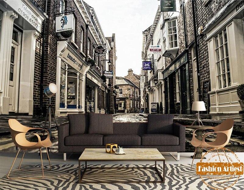 Custom Modern 3d Wallpaper Mural European Old Town Stone Street Peace Scenery Tv Sofa Bedroom Living