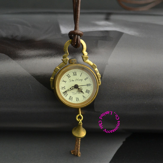 Fashion Vintage Retro Women Lady Girl Man Unisex Classic Bronze Brass Color Leather Rope Mechanical Pocket Watch Necklace Hour