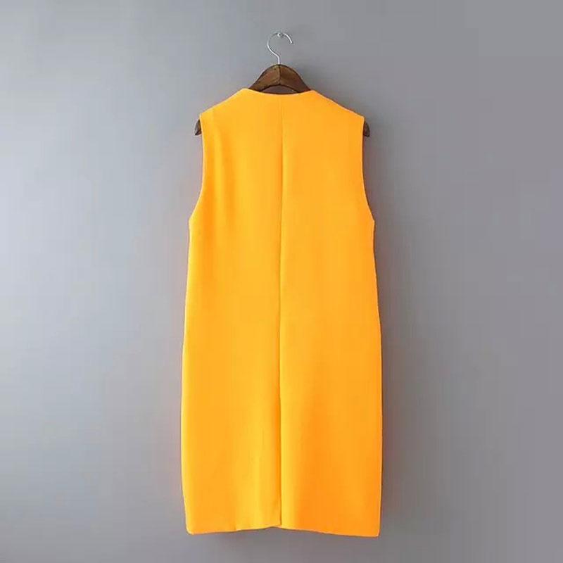 c4953013ebedf Women Long Vest Waistcoat Simple Design Orange Sleeveless Jacket Coat  Casual Outerwear Cardigans Vest Female Plus Size Clothing-in Vests    Waistcoats from ...