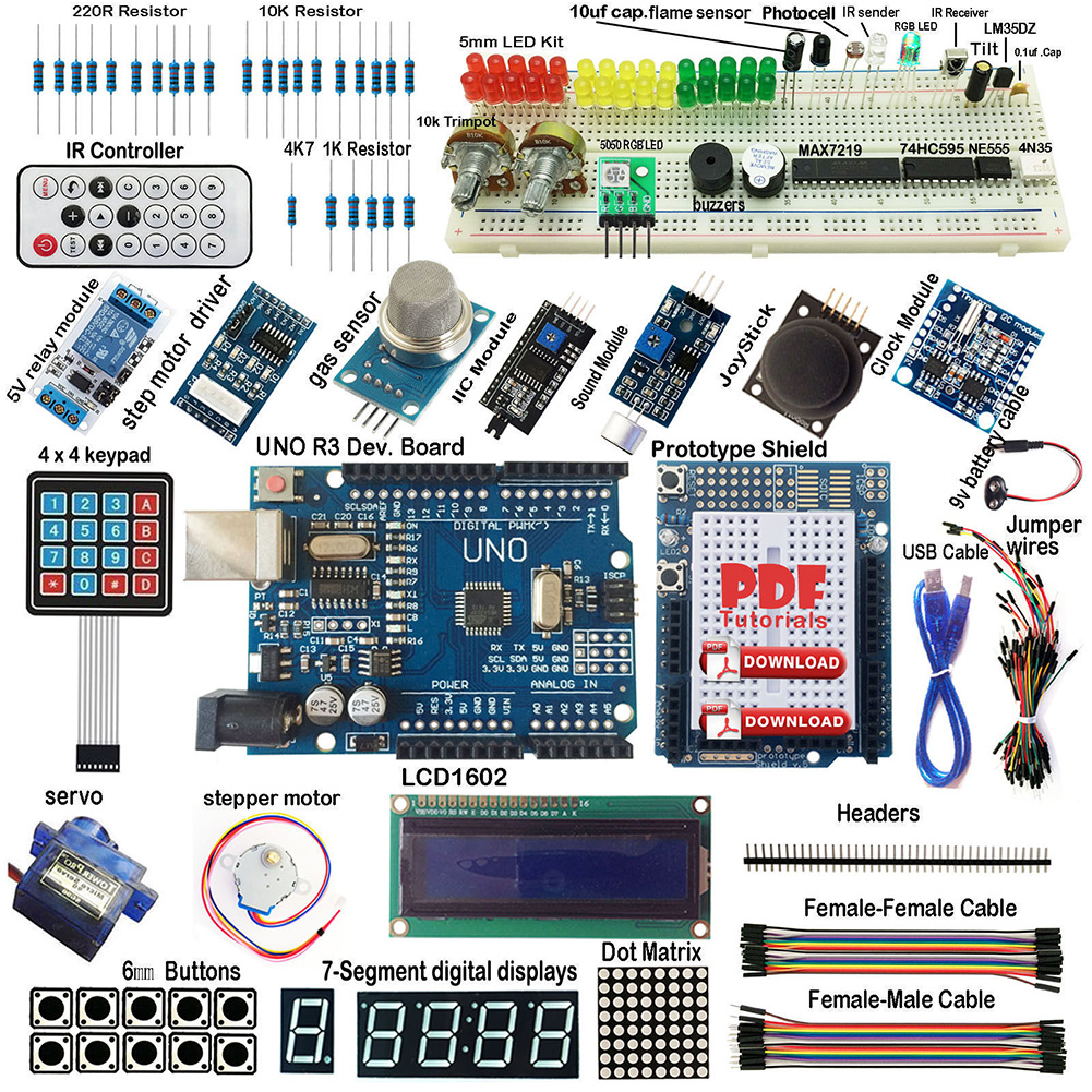 Kit de démarrage UNO ultime de haute qualité pour Arduino R3 clavier LCD1602 RTC servomoteur relais de gaz livraison directe