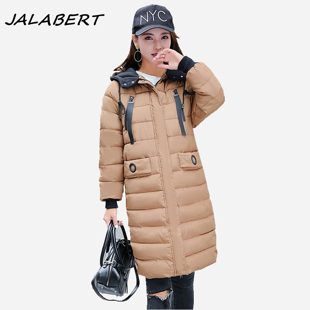 Women Winter New 2017 Warm Long Hooded Hit Color Knitted Hat Thick Solid Jacket Cotton Female Pleated Slim Khaki Coat Parkas 2017 new women winter coat long quilted jacket thick warm solid color cotton parkas female slim hooded zipper outwear okb88