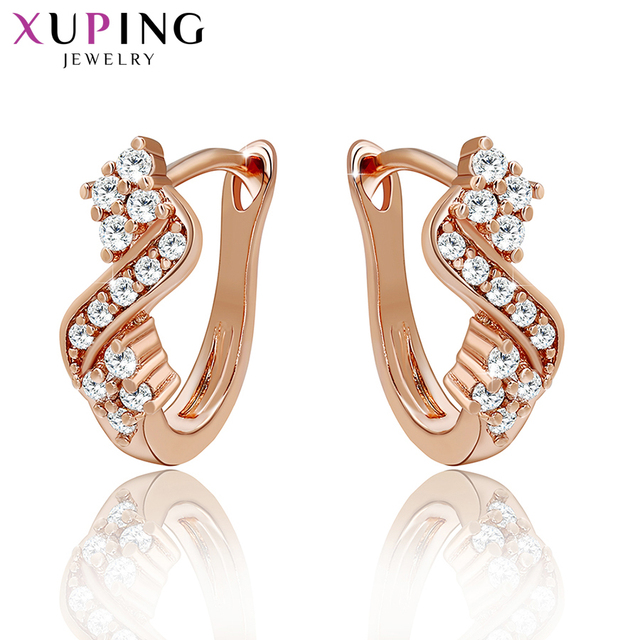 Xuping Fashion Earrings New Design High Quality for Women Rose Color Plated Charm Jewelry Valentine's Day Gift 29379