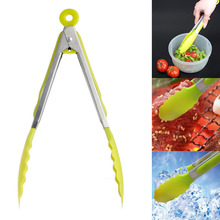Home Kitchen Cooking Food Salad Serving BBQ Tongs Stainless Steel Handle Utensil
