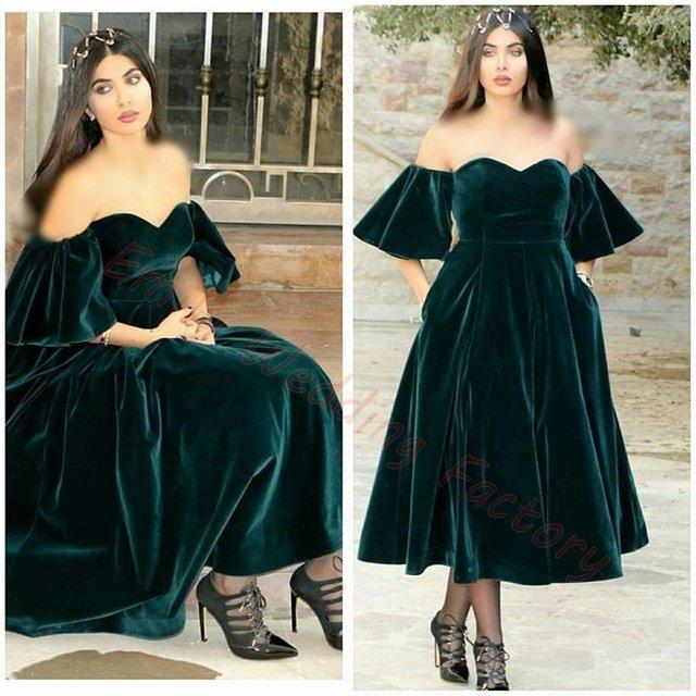 Vestido de veludo verde escuro