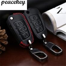 Peacekey Para Audi Caso de Cuero Llave Del Coche de Metal Inteligente Clave Shell Funda Para Audi Q5 Q7 A3 A4 B5 B6 B7 B8 B9 A5 A6 C5 C6 llavero
