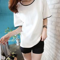 Fashion Casual Lady Top Tees Short Sleeve Solid O Neck Tops Summer Women T Shirt