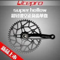Litepro край полые один набор велосипедных звездочек кривошипно 50 т 52 т 54 Т 56 т 58 т с GXP BB BCD 130 170 мм