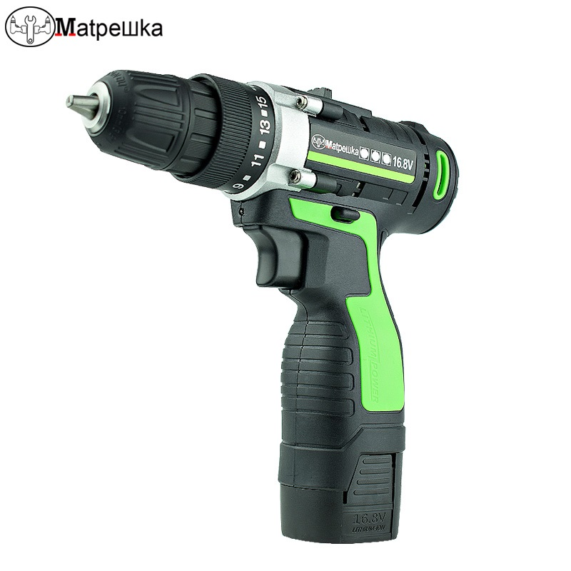 16.8V Cordless Electric Screwdriver Lithium-Ion Electric Drill Power Tools Mini Cordless Drill Bit Double Speed Drill Eu Plug free shipping brand proskit upt 32007d frequency modulated electric screwdriver 2 electric screwdriver bit 900 1300rpm tools