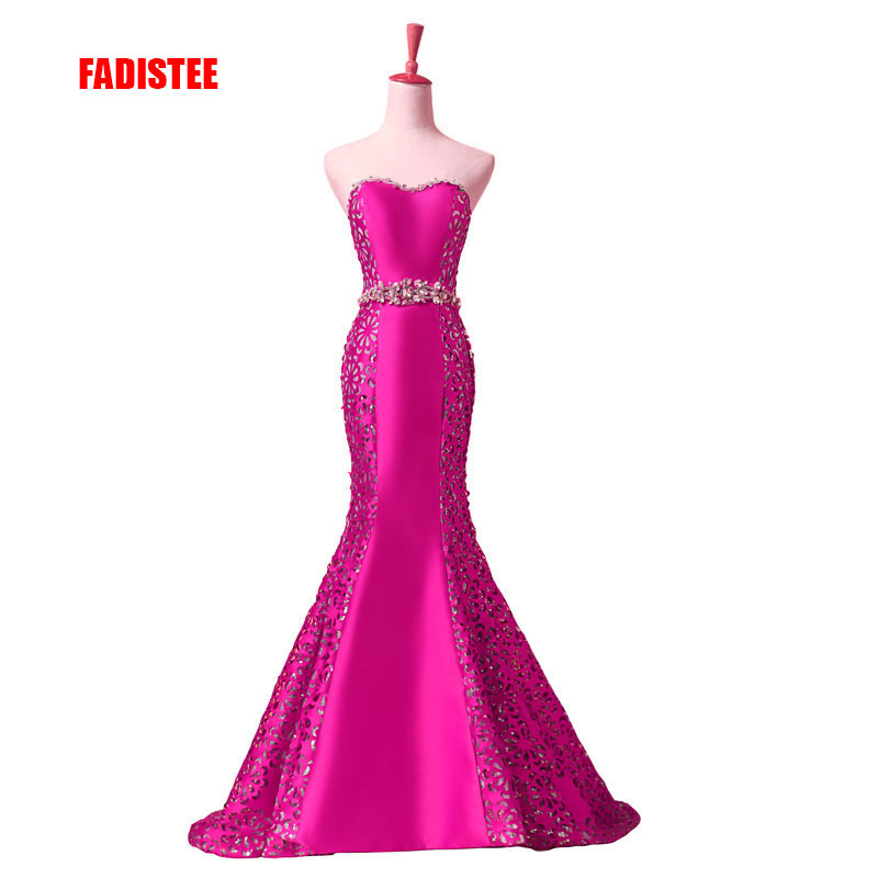 FADISTEE new arrival elegant   evening     dresses   classical sexy strapless formal party   dress   vestidos de festa pattern crystal