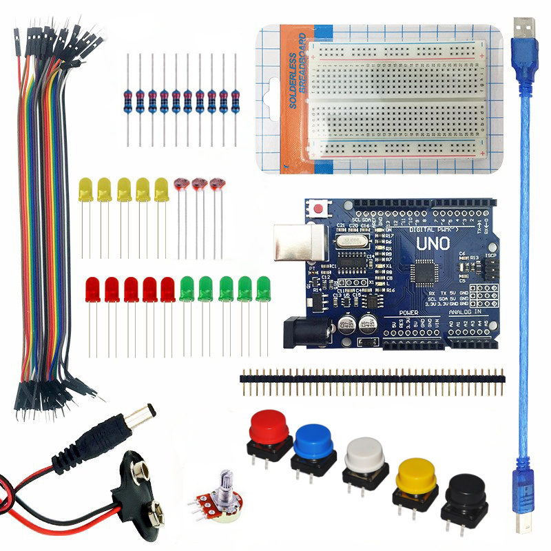 US $16 55 8% OFF|Starter Kit For Arduino UNO R3 Learning Basic Suite 400  breadboard LED Jumper Wire Resistor USB Cable + 9V Battery Connector-in