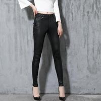 Spring and autumn new stretch sheepskin trousers Genuine leather pants women Feet leggings high end luxury leather pants