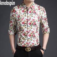 2017 Brand Men S Floral Printed Shirt Casual Slim Fit Long Sleeve Havaiian Shirts Men Plus