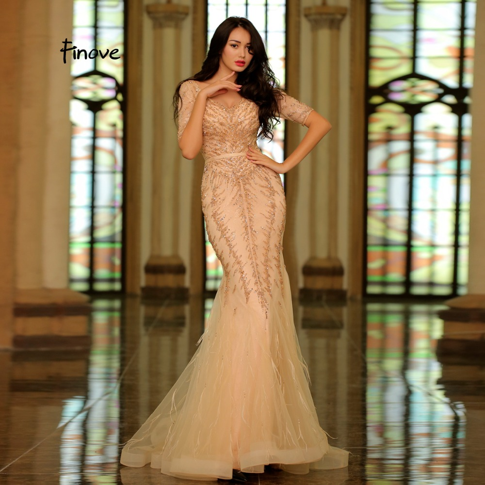 Finove 2019 Elegant Champagne Evening Dress Sexy V Neck Half Sleeves Lace Beading Feathers Formal Mermaid Prom Party Woman Dress-in Evening Dresses from Weddings & Events    1