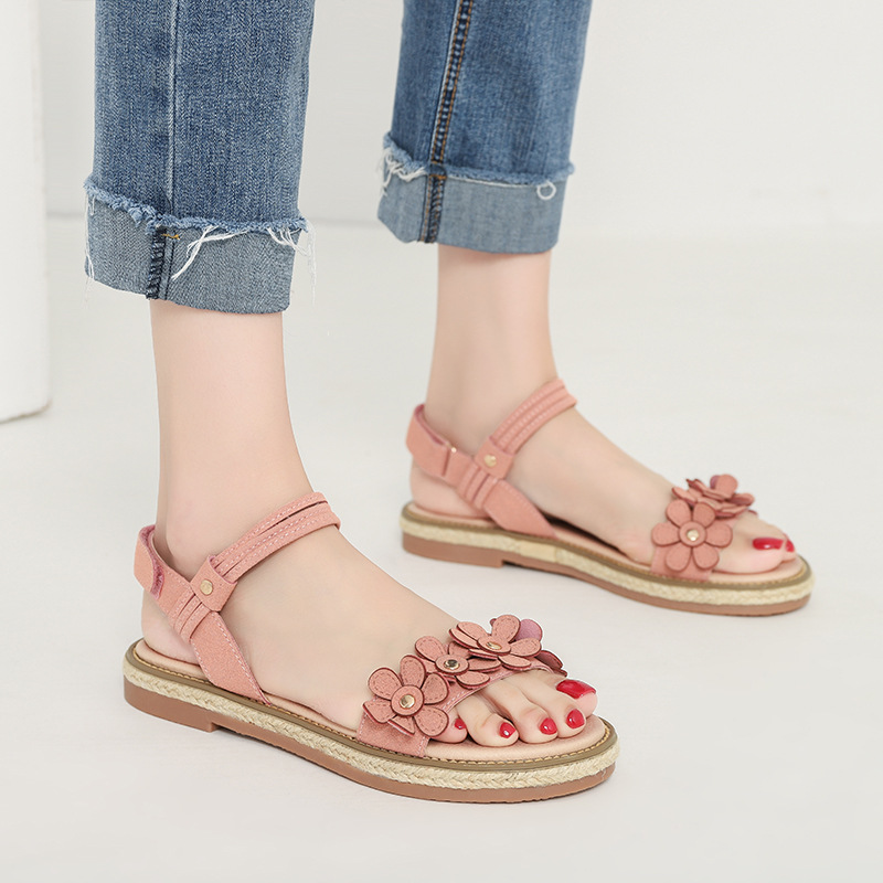 2019 summer new fashion simple solid color flower sandals women comfortable wild casual sandals2019 summer new fashion simple solid color flower sandals women comfortable wild casual sandals