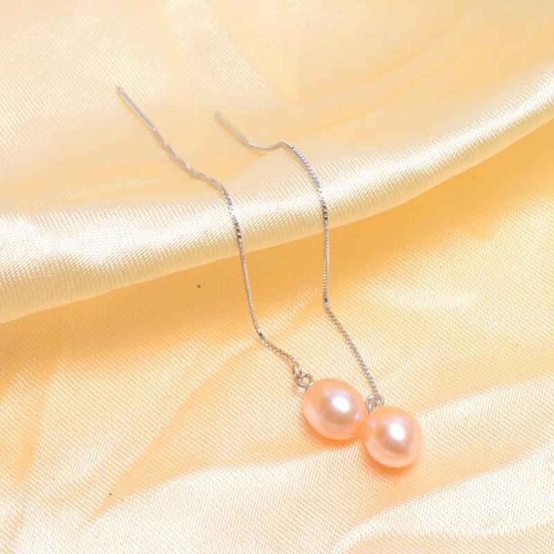 ASHIQI 925 sterling zilveren lange oorbellen voor dames 7-8 mm - Fijne sieraden - Foto 3