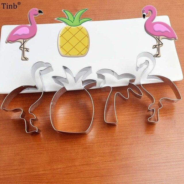 Cortadores de Biscoito Em Aço Inoxidável pc/Set 4 Flamingo Abacaxi Selos de Biscoito Bakeware ferramentas de decoração do Bolo Molde Do Bolinho Molde Biscuit