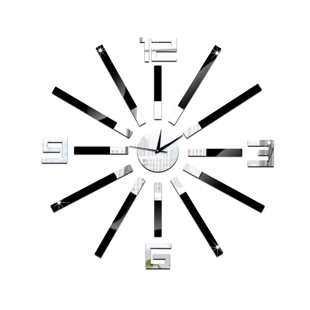 Decorate 3D number clock art wall mirror sticker decoration Decals mural painting Removable Decor Wallpaper LF 1886 in Wall Stickers from Home Garden