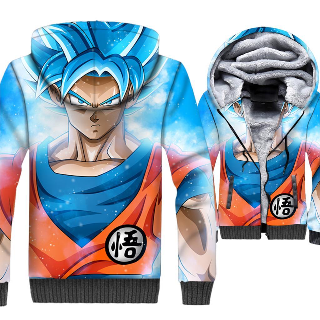 Dragon Ball 3D Hoodie Men Japan Anime Super Saiyan Hooded Sweatshirt Harajuku Coat 2018 Winter Thick Fleece Zip up Vegeta Jacket