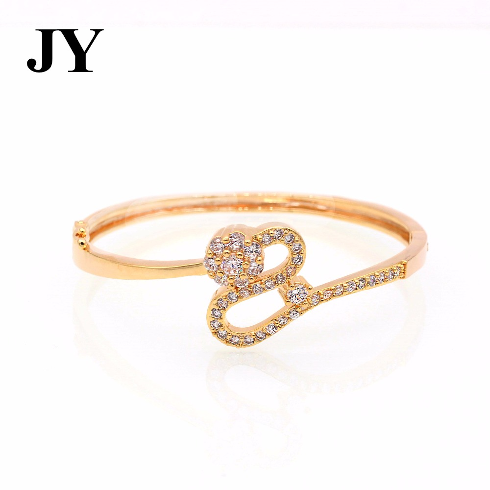 JY Fashion Gold Color Party Love Bracelet For Women Special Shape Party Bangles For Friend White Zircon Jewlery New Design