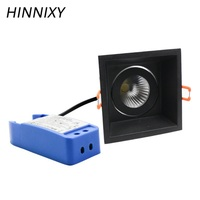 Hinnixy LED Angle Adjustable Spot Downlight Black Body 90mm 5/10/15/220V 300mA IP20 Dimmable Driver LED Recessed Spot Lighting