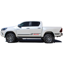 где купить free shipping 2 PC racing styling door body side stripe graphic vinyl car sticker for TOYOTA HILUX по лучшей цене