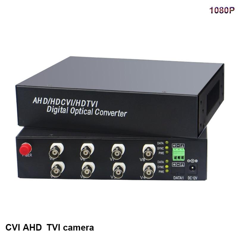 1080P HD video AHD CVI TVI Fiber optical converter 8 CH Video FC Optical RS485 data transmitter receiver hikvision Dahua camera