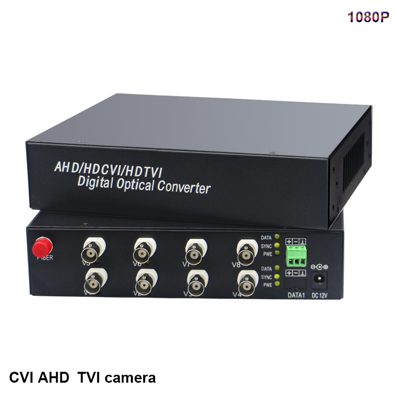 1080P HD video AHD CVI TVI Fiber optical converter 8 CH Video FC Optical RS485 data transmitter receiver hikvision Dahua camera