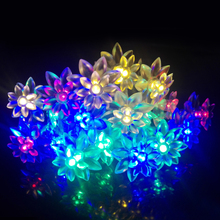 Holiday Lighting 2M 20LEDs Battery Operated Fairy Lights Lotus Flower LED String Light For Garland Christmas Wedding Decoration