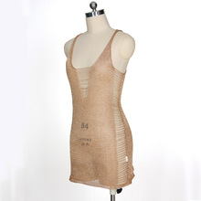 NANABUBU 2018 Bandage Dress New Arrivals Summer Gold Bodycon Dress V Neck Spaghetti Strap Knitted Sexy Beach Dress Party Women