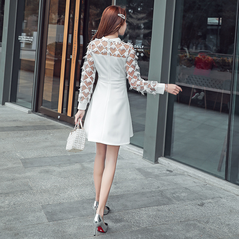 JIBAIYI White Sexy Lace Ladies Summer Dress Elegant Transparent Mesh Long Sleeve Party Dresses Women Halter Mini Female Vestido